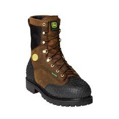 John Deere Mens Brown Leather 9in Steel Toe Waterproof Lace-Up Work Boots