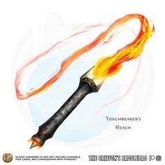 Torchbearer's Reach Weapon (whip), uncommon ___ This weapon has the Light property and does fire damage instead of slashing. Dungeons And Dragons Homebrew, D&d Dungeons And Dragons, Fantasy Armor, Fantasy Weapons, Anime Weapons Scythe, Cosplay Weapons, Armas Ninja, Dnd 5e Homebrew, Fire Art