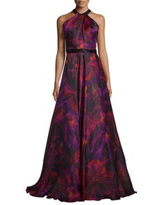 TUD74 Carmen Marc Valvo Sleeveless Floral Silk Organza Gown, Magenta