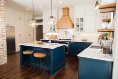 fixer upper craftsman blue kitchen cabinets cream color upper kitchen cabinetry bitter chocolate stained