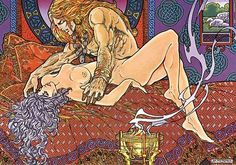 Danu & the Tuatha Dé Danann. Art by Jim Fitzpatrick: THE BOOK OF CONQUEST || Bifröst | Celti | Museo. The people that recorded our folklore did not fail to mention that the gods and goddesses engaged in a fair bit of 'ritual mating', especially on Samhain, essentially any festival involved some ritual sex! Scientists now maintain that sex is good for us, it keeps your hormone levels up and it is said that we are at our mental best afterwards.
