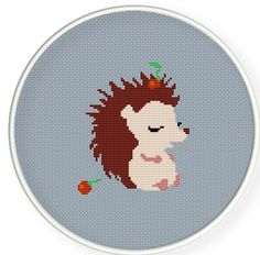 Cute hedgehog boy carried cherry,Buy 4 get 1 free Cross stitch pattern PDFCute by danceneedle, $4.00