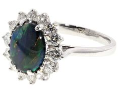 Black Opal and Diamond Ring in 14K #504525