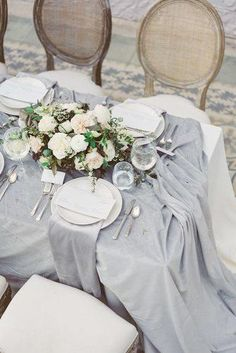 Wedding Trends wedding trends 2019 bridal table grey tablecloth with white flower centerpiece laurenfair - We have collected 30 super hot wedding trends Bold colors, romantic flowers, fairy lighting and other lovely ideas in our gallery to inspire you. Top Wedding Trends, Wedding Themes, Wedding Colors, Wedding Flowers, Trendy Wedding, Wedding Dresses, Grey Wedding Decor, Sage Wedding, Bling Wedding
