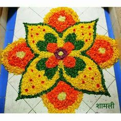 Latest creative flower Rangoli for festival or special occasion made using flower petals Rangoli Designs Flower, Rangoli Ideas, Rangoli Designs Diwali, Diwali Rangoli, Flower Rangoli, Kolam Designs, Diwali Decorations At Home, Festival Decorations, Flower Decorations