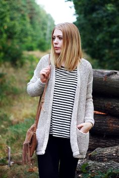 big sweater, striped shirt and cute leather purse