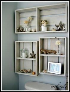 seaside theme bathroom box shelves