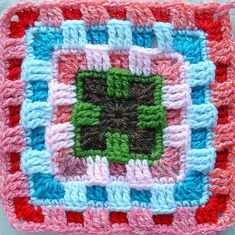 "interesting ""granny"" square - for inspiration although it's pretty easy to figure it out!"