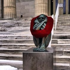 elspethmoxie: Meanwhile….in Erie, PA. (NOT photoshopped! My friend felt bad for the statue and knitted it a scarf! #yarn-bombed)