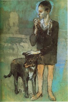 ''Boy with a Dog.Reverse: Study of Two Figures and a Male Head in Profile'', Pablo Picasso