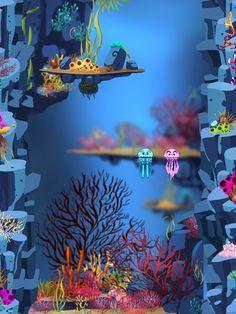 Underwater game mockup, underwater plants, cartoon plants, cartoon game assets, mobile game art, underwater background assets