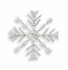 Snowflake Fashion Pin with Clear CZs by Silver and Crystal Gallery. $10.00. 25mm polished silver tone snowflake fashion pin with 1mm - 4mm clear CZ accents. Nickel free and lead free base metal.. Save 33% Off!