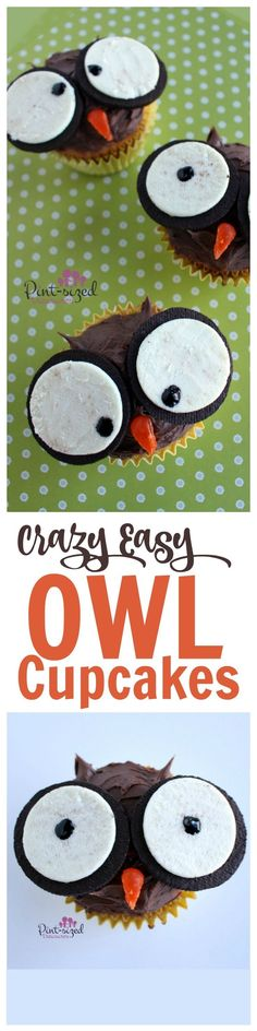 Make childhood a little bit more magical with these crazy easy owl cupcakes! Love those BIG whimsical eyes that create the cutest cupcakes on planet earth! Owl Cupcakes, Cute Cupcakes, Cupcake Cakes, Decorated Cupcakes, Fruit Cakes, Themed Cupcakes, Cup Cakes, Oreo Dessert, Dessert Recipes