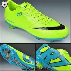 Cheap Nike Mercurial CR7 SE-FG Fluorescent Green Blue Black 2014 Soccer Cleats