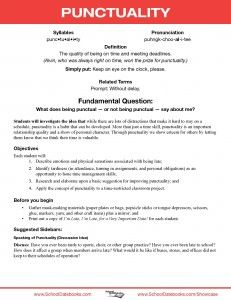 Punctuality - Character Lesson Plan. Free, downloadable, 52 total.