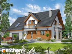 Dom w tamaryszkach 4 (N) Small Country Homes, Moise, Home Fashion, My Dream Home, Planer, Beautiful Homes, House Plans, Castle, Construction