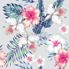 """Wall Mural """"banana, palm, leaf - hibiscus and orchids tropical seamless"""" ✓ Easy Installation ✓ 365 Day Money Back Guarantee ✓ Browse other patterns from this collection!"""
