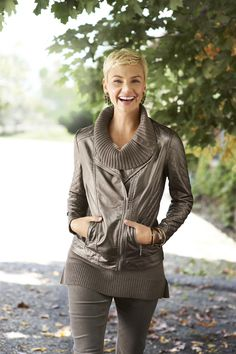 Precious Metal: We love to mix it up. A soft cowl neck adds a feminine touch to this sharp-looking bronze moto jacket. #WildAbout30 #chicos