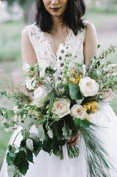 Romantic Stellenbosch wedding with roses, greens, mustard pops and fairy bride + big bridal bouquet. Whimsical Wedding Inspiration, Wedding Flowers, Wedding Dresses, White Fashion, Beautiful Bride, Bouquet, Romantic Roses, Wedding White, Bridal