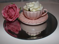 Our teacup with faux roses served on a mirror plate available to hire! Mirror Plates, Teacup, Panna Cotta, Centerpieces, Roses, Simple, Ethnic Recipes, Food, Dulce De Leche