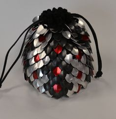 Large Shabby Chic Silver Scaled Dice Bag