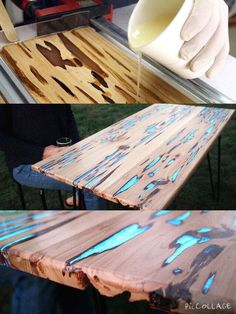 How to make a different table with luminous liquid.