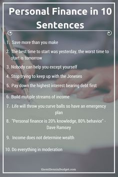 Personal Finance in 10 Sentences