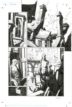 Hellboy  In Hell #4  page 21 par Mike Mignola - Planche originale - http://www.2dgalleries.com