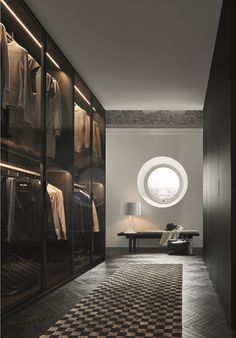 Senzafine Ocean wardrobes with leaf opening and Black elm Home Hotel Collection bench with Nabuk