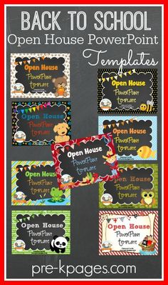 back to school open house powerpoint templates available in several themes super cute