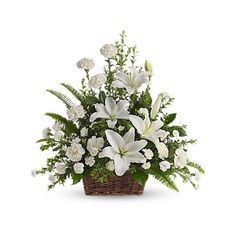Peaceful White Lilies Basket Flowers ($80) ❤ liked on Polyvore featuring home, home decor, floral decor, flowers, white home decor, flower home decor, white lily bouquet, flower stem and white basket