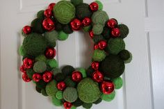 yarn and red glass ornament wreath