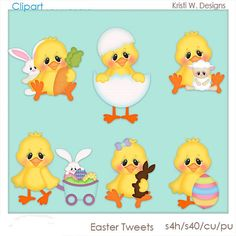 VISIT WWW.CLIPART-CENTRAL.COM AND USE COUPON CODE 219401fc79 TO GET 25% OFF YOUR FIRST ORDER!    EASTER TWEETS IS A DIGITAL CLIPART SET.  THIS SET