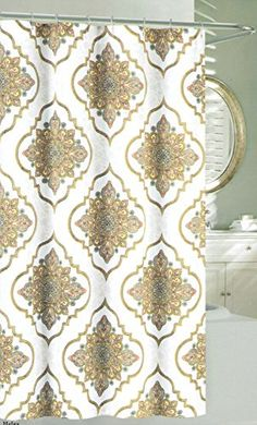 Nicole Miller Large Ornate Medallion Fabric Shower Curtain By Taupe Beige Grey Blue Yellow Orange White