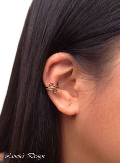 Gold Brass Double Swirl Ear Cuff, Cartilage No Piercing Earrings, More Colors in the Option