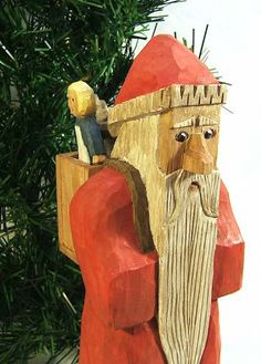 Handmade Wood Folk Art Santa Claus Carving by ClaudesWoodcarving