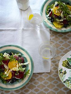 Fennel, olive, bresaola and orange salad:  Bresaola, a delicately sliced, cured beef, makes a fine salad when combined with the fresh, clean flavours of fennel and orange. Recipes Alice Hart, styling Emma Thomas, photographs Emma Lee. http://www.hglivingbeautifully.com/2015/06/07/zest-for-life-3-recipes-celebrating-citrus-fruit/