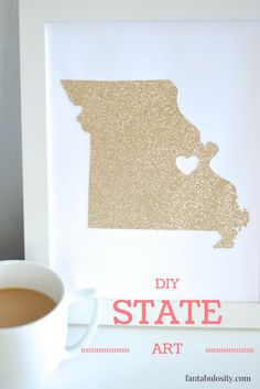 DIY State Art - what an adorable idea for a gallery wall in a nursery or kids room!
