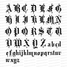 Caligraphy Alphabet Discover Victorian Old English Title Text Ornamental Alphabet Vector Clipart Tattoo Lettering Alphabet, Calligraphy Tattoo Fonts, Calligraphy Letters Alphabet, Old Calligraphy, Font Tattoo, Chicano Tattoos Lettering, Cursive Fonts, Penmanship, Word Tattoos
