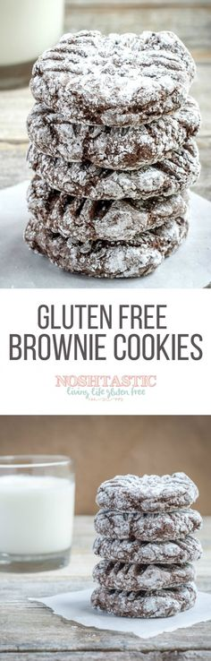 Gluten Free Recipes A delicious easy recipe for Gluten Free Brownie Cookies, you'll love them! Gluten Free Deserts, Gluten Free Sweets, Foods With Gluten, Gluten Free Cooking, Dairy Free Recipes, Healthy Recipes, Healthy Meals, Cooking Food, Simple Recipes