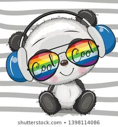 Cool Cartoon Cute Panda with sun glasses Gráficos Vectoriales Panda Kawaii, Cute Panda Cartoon, Baby Cartoon, Panda Wallpapers, Cute Cartoon Wallpapers, Cute Images, Cute Pictures, Cute Cartoon Images, Animal Drawings