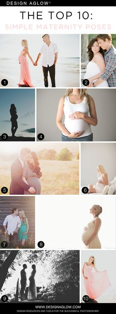 The Top 10: Simple Maternity Poses #designaglow  Photo credits: 1) Tyson French Photography 2) J. Layne Photography 3) Red Balloon Photography 4) Aimee Cook Photography 5) Studio Cee Photography 6) Jenny Kruger Photography 7) Katch Studios 8) Jenny Kruger Photography 9) Red Balloon Photography 10) Tyson French Photography