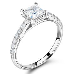 Princess Cut Solitaire with Scallop Set Shoulders ER 1544 - http://www.voltairediamonds.ie/product/melee/princess-cut-solitaire-with-scallop-set-shoulders-er-1544/