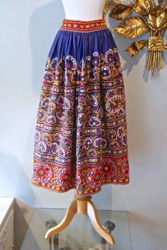 Vintage 70s Skirt / 1970's Mirror Embroidery by xtabayvintage, $248.00