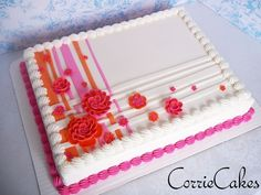 1/2 sheet cake made to coordinate with a wedding cake- iced in BC with mmf decorations
