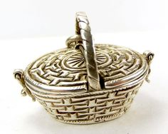 HUGE Vintage Silver PICNIC BASKET Charm/Pendant Opens from m4gso on Ruby Lane