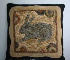 Rabbit Primitive Hand Hooked Rug Pillow ~::~ Wool Applique Accents ~::~ #NaivePrimitive #maggiesfarm1846