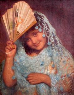 Portrait Of A Young Girl (Sophie Gengembre Anderson - ) Sophie Anderson, Walter Anderson, Gustav Klimt, Spanish Gypsy, Gypsy Girls, Art Addiction, Z Arts, Pre Raphaelite, Victorian Art