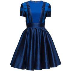 LATTORI Royal Blue Suspender-Skirt Dress ($399) ❤ liked on Polyvore featuring dresses, lattori, blue dress, royal blue dress and electric blue dress