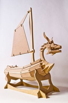 Viking ship - handmade wood boat sculpture toy - King of the Red Lions - SmallforBig.com